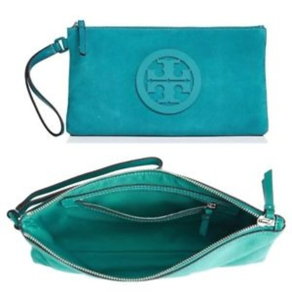 a90bbf3299f NWT Tory Burch Charlie Clutch in Ribbon Turquoise